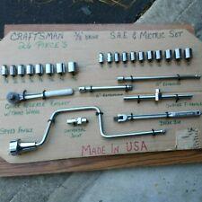 Vintage Craftsman Made In Usa 38 Drive Metric Amp Sae 26 Pc Set