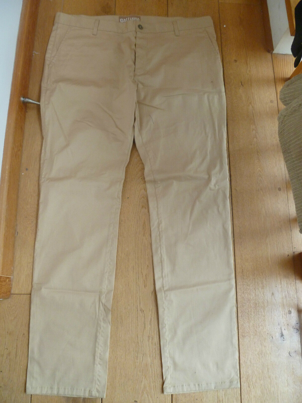 GALLIANO SMART CREAM BEIGE FLAT FRONT SUMMER TROUSERS US 42 XXXL BNWOT