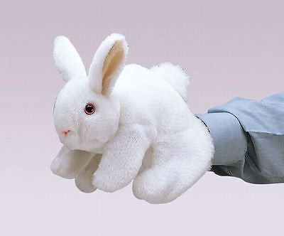 WHITE BUNNY RABBIT Puppet # 2048  ~ FREE SHIP in USA ~ Folkmanis Puppets