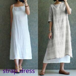 Summer Womens Strappy Cotton Linen Tank Maxi Long Dress Baggy Inside Kaftan Plus