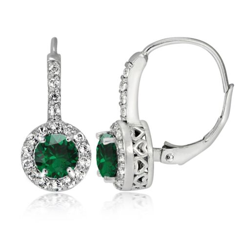 Sterling Silver Created Emerald /& White Topaz Round Leverback Earrings
