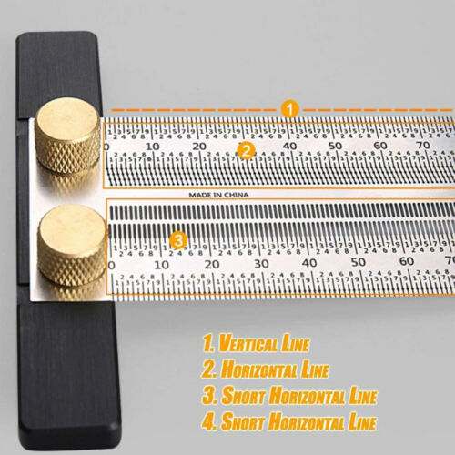 Woodworking Marking T-Rule Scale Ruler T-Type Hole Ruler Stainless Scribing Mark