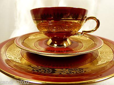 VTG Bavaria Porcelain MPK Red Gold 3 piece set  tea cup saucer dessert plate