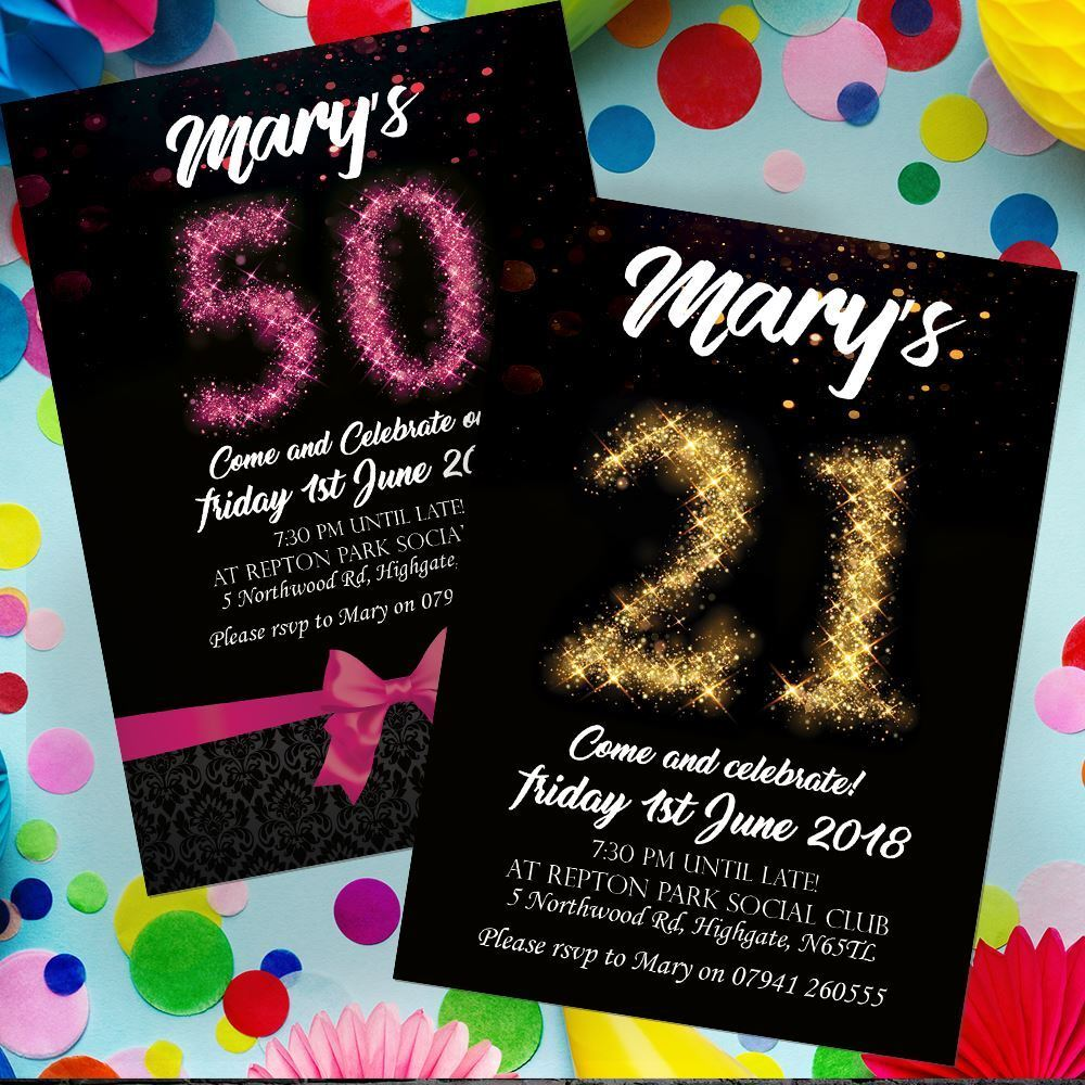 Personalised Birthday Invitations, Party Invites  18th 21st 30th 40th 50th 60