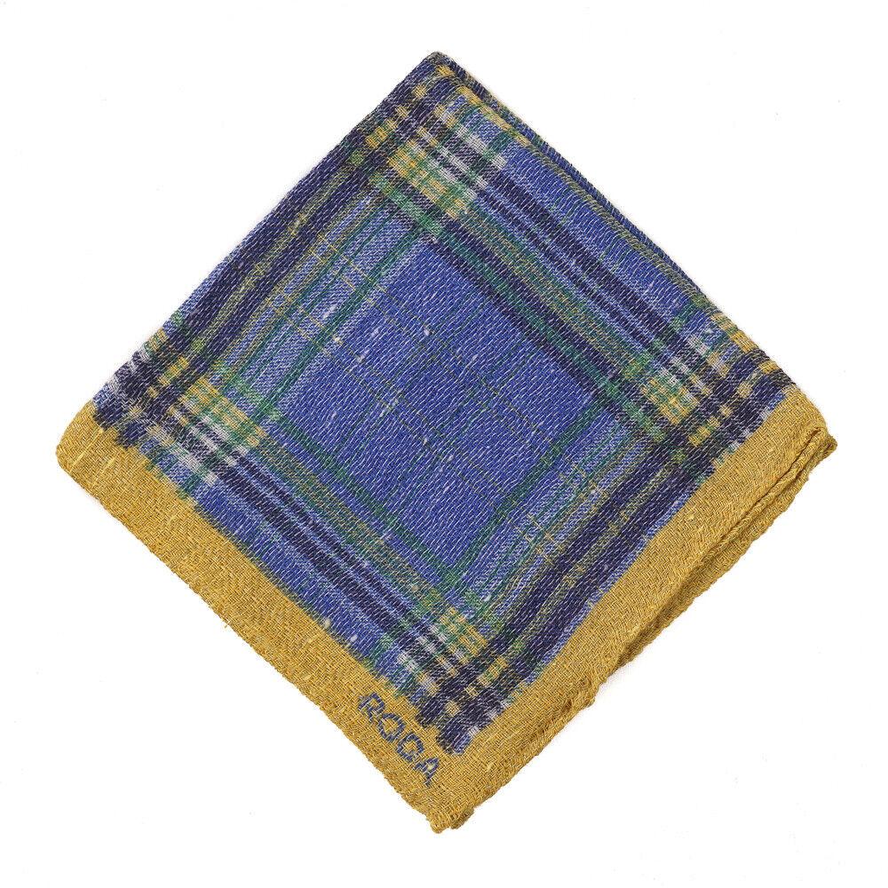 NWT RODA Blue-Green-Gold Check Print Wool-Blend Pocket Square
