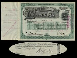 Mergenthalter-Linotype-Stock-Issued-To-And-Signed-On-Verso-By-Darius-O-Mills