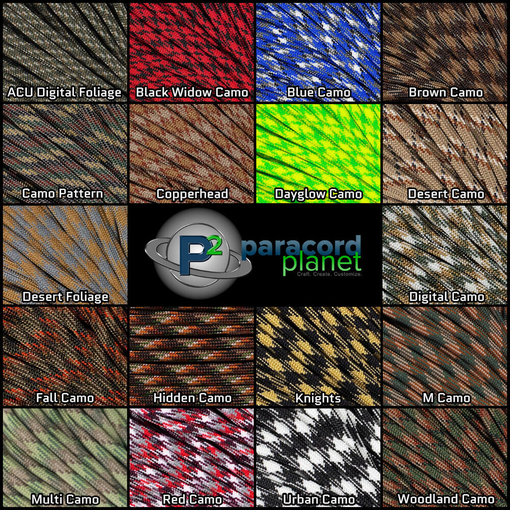 100FT Type III Hidden Camo Paracord 550 Parachute Cord 7 Strand Made In USA