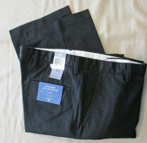 "NEW DOCKERS /""ALL DAY KHAKI/"" STRAIGHT FIT FLAT FRONT PANTS BLACK 33X32"