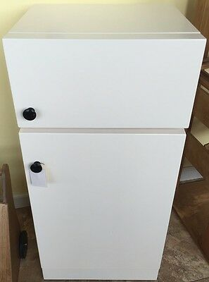 Play TOY KITCHEN REFRIGERATOR White Wooden Playroom Homeschool Kid Furniture