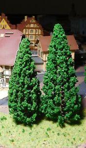 6-dunkelgruene-Tannen-Nadelbaeume-je-3-Stueck-130-mm-und-150-mm-hoch