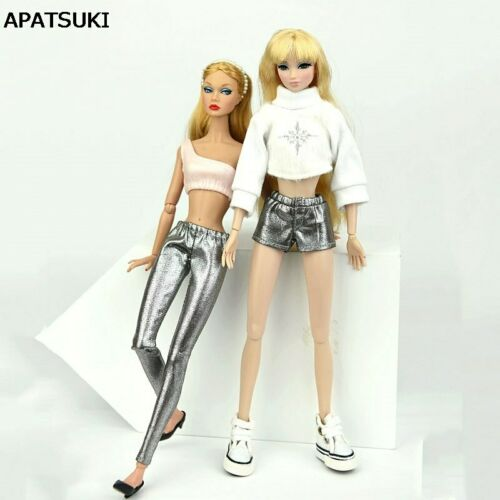 """Metallic Silver Fake Leather Shorts Bottom Trousers Pants For 11.5/"""" Doll Clothes"""