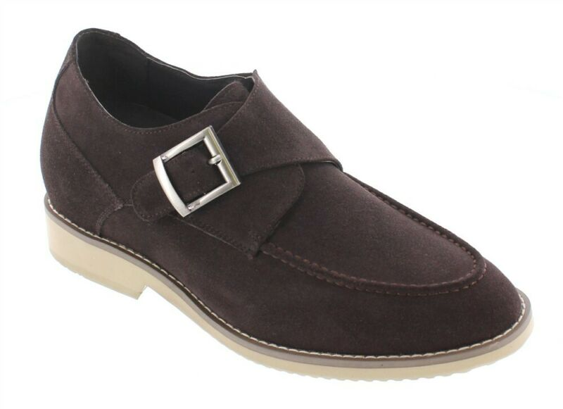 Calto T66072 - 2.8 Inches Elevator Height Increasing Nubuck Brown Buckle Oxford