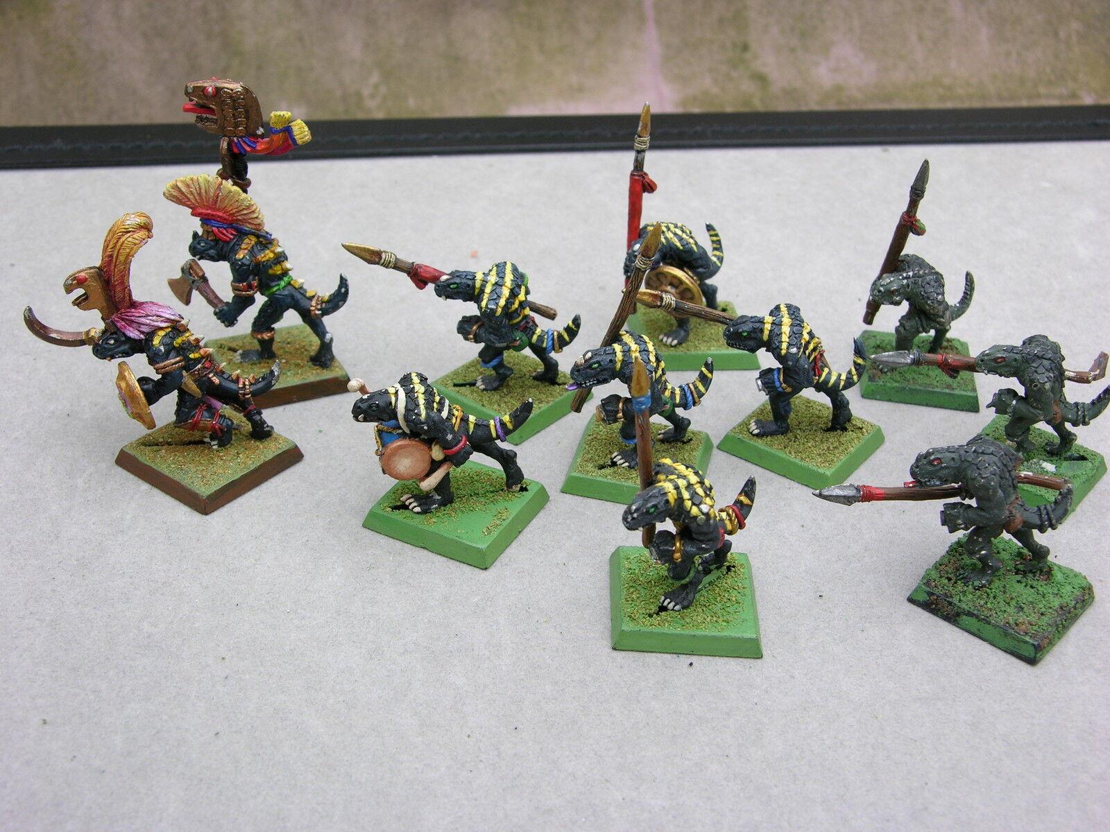 Warhammer Uomini Lucertola Sauri Plotone x11, Dipinto