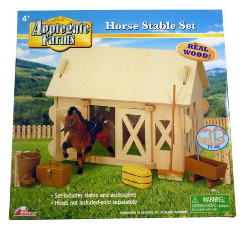 BT229 4 Les fermes Applegate-cheval de bois stable Set-Comprend Accessoires