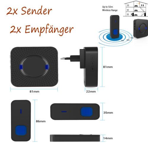 Schwarz Türklingel Wasserdicht Funkklingel 2Sender 2Empfänger 55 Melodie mit LED