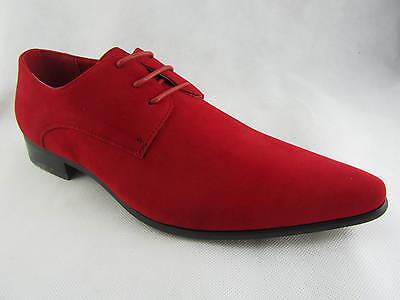 Rossellini azzurra Para hombres Zapatos Rojo Imitación Gamuza Con Cordones en Punta Informal Zapato