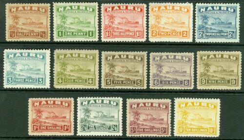 SG 26a39a Nauru. 192448 set of 14 values. d to 10. Lightly mounted mint