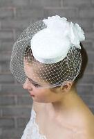 Ladies Satin Wedding Bridal Hat Ivory/white Rose Flower Corsage Hair Comb