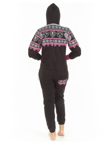 Unisex Womens Mens Heart Aztec Print Fleece Nightwear Ladies Jumpsuit Pyjama M L