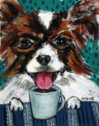 Papillon dog coffee art  PRINT 8x10 impressionism reproduction of painting