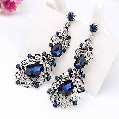 1 Pair Fashion Women Ear Stud Elegant Crystal Rhinestone Flower Dangle Earrings