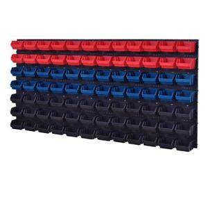 92-teiliges-SET-Lagersichtboxenwand-Stapelboxen-mit-Montagewand-Werkzeugwand