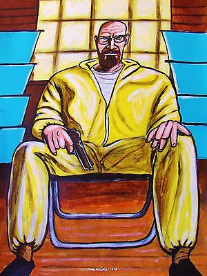 BREAKING BAD PAINTING walter white brian cranston t.v. series final season gun