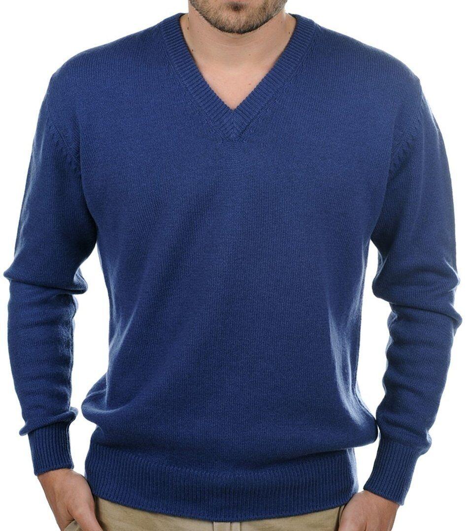Balldiri 100% Cashmere Uomo Pullover Pullover Pullover Scollo a V 4-fädig Cobalto Blu M 622749