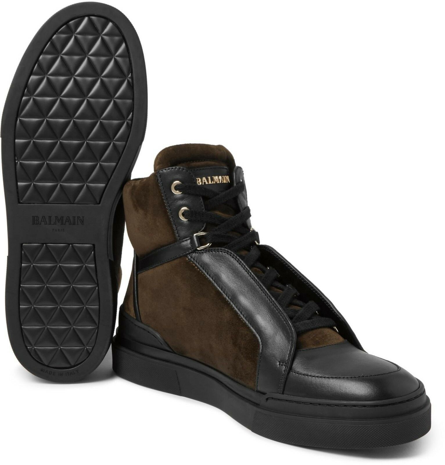 BALMAIN ATLAS SUEDE AND LEATHER HIGH-TOP SNEAKERS in size 44 - NEW -  720 eur