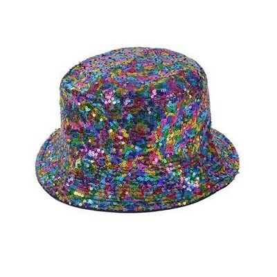 Rainbow Colored Fedora Sequin Costume Hat Parade Accessory Adult Gangster Hip Ho