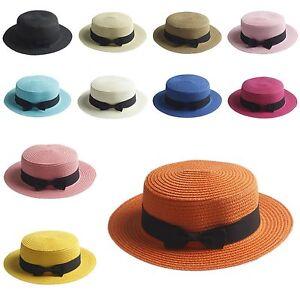 Women-Lady-039-s-Straw-Bowler-Boater-Sun-Hat-Round-Flat-Caps-Wide-Brim-Summer-Beach