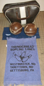 Vintage Brown/Mocha & White SWIRL Used DUCK PIN BOWLING BALLS in Zippered Bag