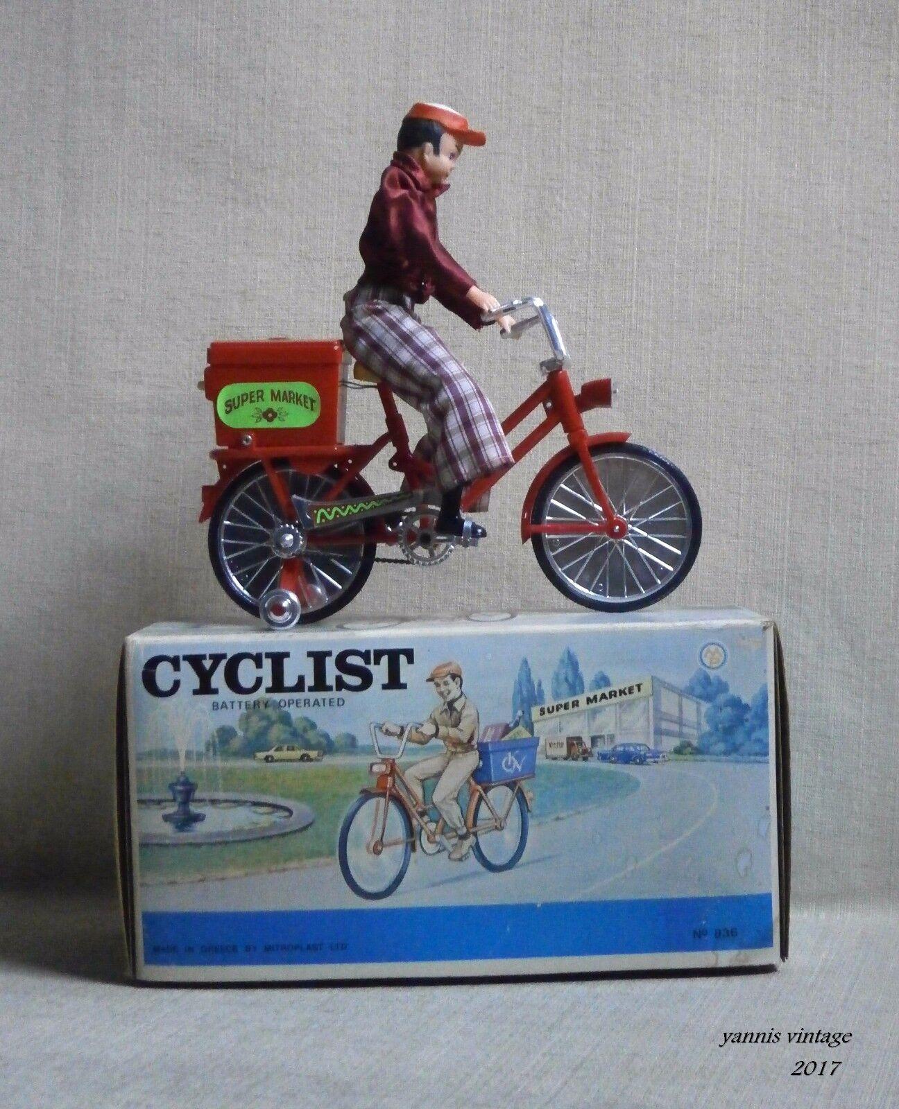 Cyclist NIB B O MADE IN GREECE BY MISTER P Nr 836 VTG GREEK TOY