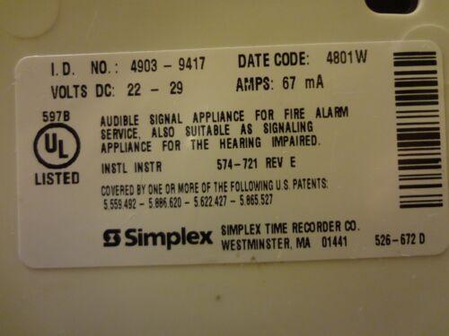 SIMPLEX 4903-9417 T//A NON-ADDRESSABLE RED 15 CD A//V FIRE ALARM STROBE