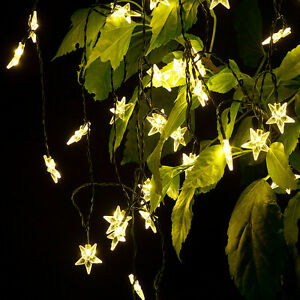 Image Is Loading 20 Star LED Solar Powered Outdoor String Lights