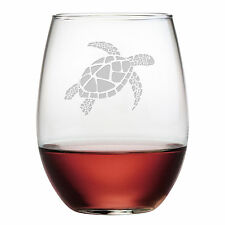 Stemless Wine Glasses Sea Turtle Design Set/4 Hand Etched Gifts Ocean Turtle