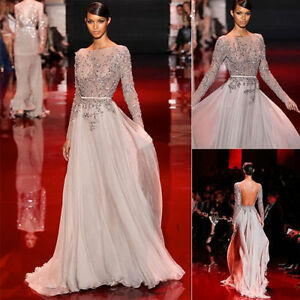 37a073d49c3 Elie Saab Sheer Beaded Evening Prom Dress Pageant Party Gown Custom ...