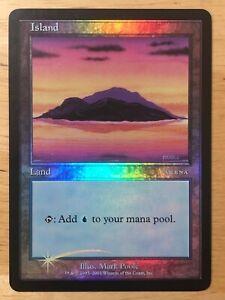 Island-FOIL-arena-2001-Beta-art-promo-mtg-SP