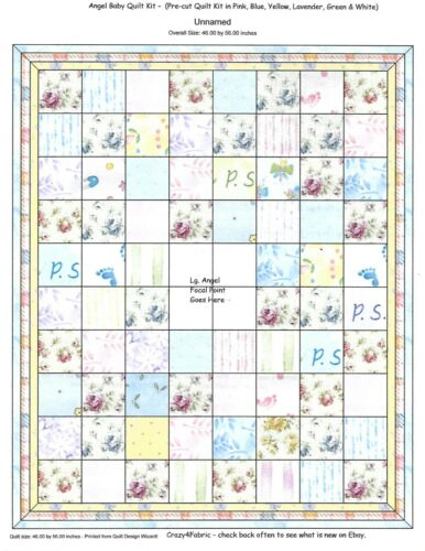 """5/"""" /""""My Angel Baby/"""" Pink, Lavender, Yellow etc Pre-cut QUILT KIT-Baby or Child"""