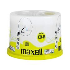 50 Maxell CD-R 80Min (52x) 700 MB Wide White InkJet Printable 50 spindle 624006