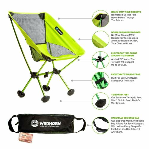 Wildhorn Outfitters TerraLite Portable Folding Camping and Beach Chair Green