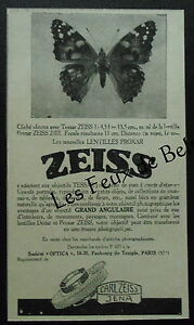 Publicite-ZEISS-TESSAR-PROXAR-Photo-papillon-advert-1927
