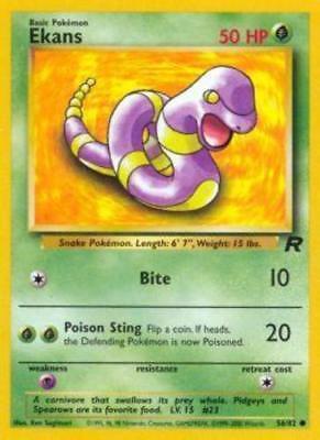 56//82 Team Rocket Set Common EKANS Unlimited Pokemon Card NM