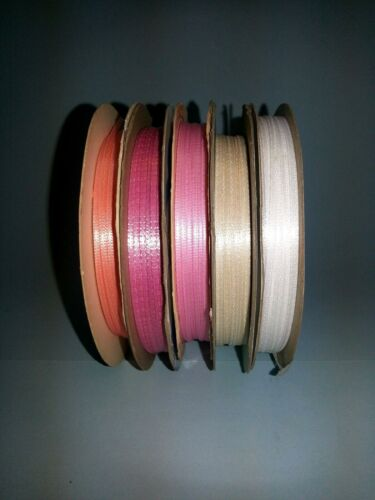 """1//16/"""" Double Faced Woven Satin Ribbon 5 yard lots 20 colors Miniature Craft"""