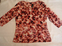 East 5th L Or Xl Choice Pull Over Casual Shirt 3/4 Sleeves Pinks