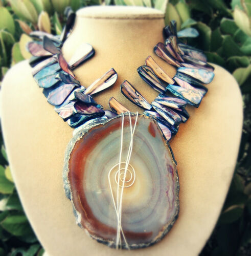 Details about  /PURPLE GEODE GIANT SLICE PENDANT NECKLACE Mother of Pearl Shell Lavender JEWELRY