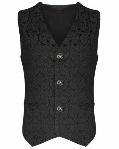 8 Colors Mens Waistcoat Vest Brocade Gothic Steampunk Wedding VTG Emopunk S-10XL