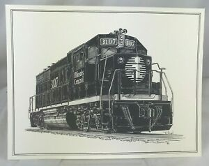 Details about Illinois Central ICRR Railroad Locomotive 3107 Train Print  Lithograph Drawing