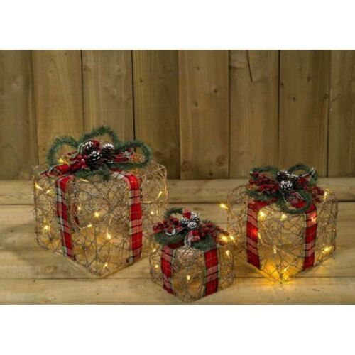 3 Pack Wicker and Tartan Battery Operated Gift Box SW5 Room Decoration