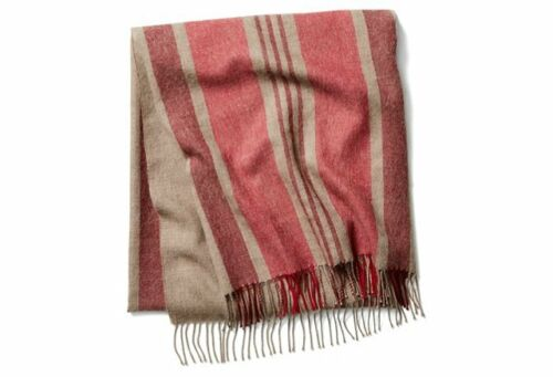 Alicia Adams 100% Baby Alpaca Throw Blanket TaupeRed – Ret. $445 New